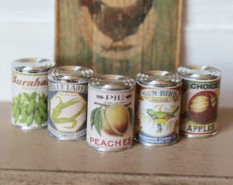 Dolls House Miniature Food Tin Cans in 1:12 scale