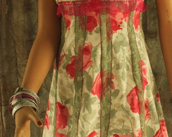 SALE Bright hot pink and pale green summer BOHO hippie GYSPY sun dress  - bold colors, tropical print, fitted summer sleeveless  #120D