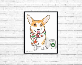 Pembroke Welsh Corgi Dog Art Print, Coffee Lovers Gift, Autumn Art Print, Corgi Dog Decor, Corgi Gifts, Dog Lover Gift, Funny Animal Art