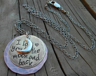 Love you to the moon. Crescent Moon Charm Necklace. 102016