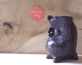 Primitive Hand Carved Wooden Owl Figurine, Statue