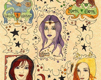Book of Shadows Wicca pdf Grimoire Art Digital Download Elementals In Unison  ~ Parchment Art Beautiful/Unique/Inspired by Carole Anzolletti