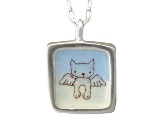 Angel Cat Necklace - Cat Memorial Necklace