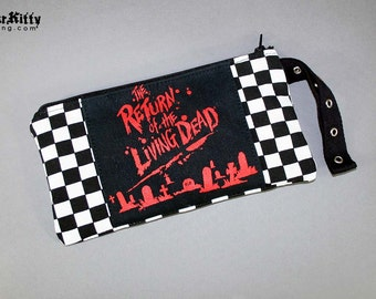 Return Of The Living Dead Zombie Horror Movie Halloween Pouch Makeup Bag Wristlet 80s Checker Racer Purse Evil Dead