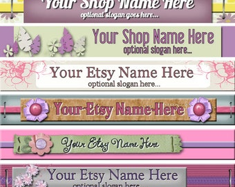 Raggedy Dreams Premade ETSY Shop Banner - SHOP ICON - Assorted Whimsical Simple Pink Purple Scrapbook Designs