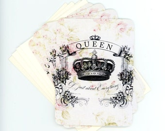 Queen Note Cards , Shabby and Chic Flat Cards , Blank Cards , Set of Four , Rose Cards , Crown Cards , Gift Cards , Bluebird Lane
