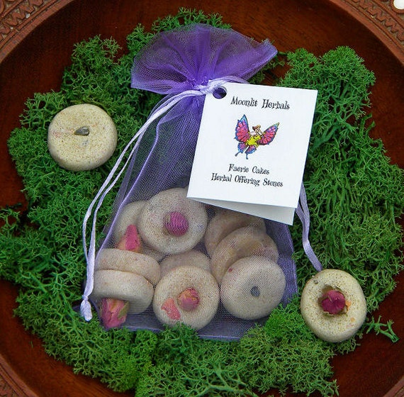 Faerie Cakes Herbal Offering Stones - Manifest Wishes, Gift of Thanks, Nature Spirits, Green Witchery, Altar Offering, Faery Shrine