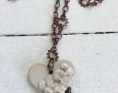 Handmade Ceramic Heart Pendant Focal Necklace