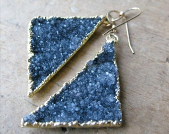 TRIANGLE grey drusy geometric earrings fine crystal druzy gold filled