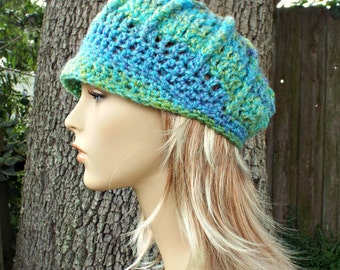 Blue Newsboy Hat Blue Womens Hat - Fitted Spring Monarch Ribbed Crochet Newsboy Hat Lakeside Blue Crochet Hat - READY TO SHIP