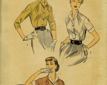 1953 Advance #6458 MISSES BLOUSE PATTERN Size 14 Bust 32 Unprinted Tissues Vintage Sewing