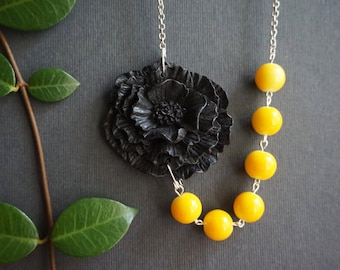 Statement Necklace Poppy Necklace Black Necklace Yellow Necklace Bridesmaid Jewelry Bridesmaid Gift Black Jewelry Flower Necklace Gift