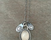 White faceted moonstone charm necklace - sun necklace - heart necklace - boho necklace - delicate necklace