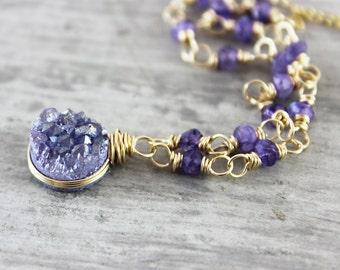 Purple Druzy Necklace, Gold Filled Necklace, Rainbow Moonstone Necklace, Wire Wrap Necklace, Violet Pendant Necklace, Drusy Gemstone