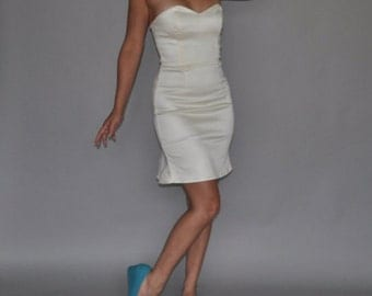 Stretch Ivory Sateen Short Wiggle Vegas Wedding Dress Clearance Sample Sale Ready to Ship Size M