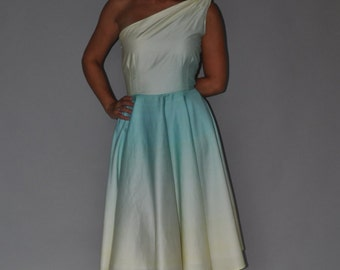 One Shoulder Aqua Blue to Ivory Ombre Dress Tea Length Size 2 Asymetrical Gradient Pastel Blue Fit and Flare Ready to Ship Clearance
