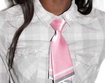 Baby Pink Stripe Bow Neck Tie - Japan School Girl Style