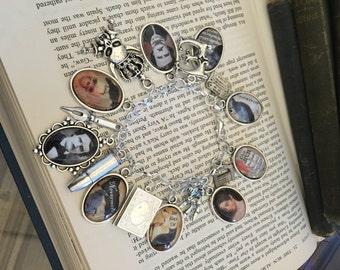 Edgar Allan Poe Charm Bracelet, Charm Bracelet, Silver Charm Bracelet, Author Charm Bracelet, Literary Charm Bracelet, Literary Jewelry