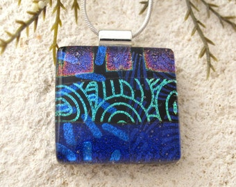 Purple Blue  Necklace, Fused Glass Jewelry, Dichroic Necklace, Silver Necklace, Dichroic Glass Jewelry, Dichroic Glass Jewelry, 092516p109
