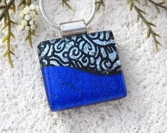 Petite Silver & Cobalt Blue Necklace, Dichroic Necklace, Fused Glass Jewelry, Dichroic Jewelry, Glass Pendant , Necklace Incuded, 101116p101