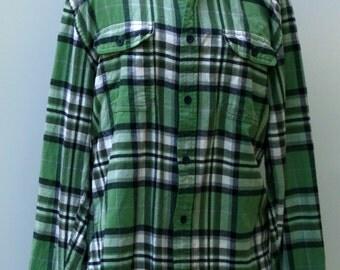 Cotton Flannel Vintage Old Navy Men soft Flannel Shirt, Comfy man woman green shirt plaid grunge hipster 90s M Medium button down Hipster