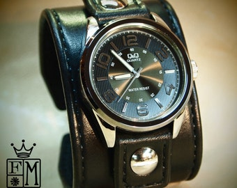 Leather cuff Watch Vintage Black bridle leather watchband, handstitched wrist watch made for YOU in NYC by Freddie Matara