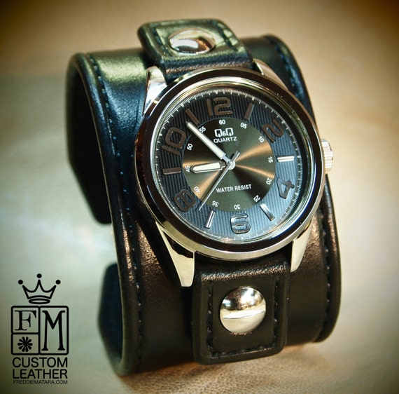 Leather cuff Watch Vintage Black bridle leather watchband, handstitched wrist watch made for YOU in New York by Freddie Matara