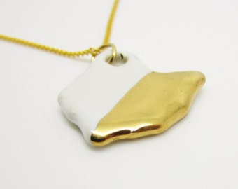 Gold Metallic Half Dipped Ohio Necklace Glazed Ceramic on an 18 inch Gold Chain