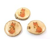 "3  BRANCH Buttons. Red Fox Real Wood Branch Decorative Sewing Buttons.  1"" or 25 mm Round."