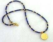 Delicate Thin Lapis, 22kg Vermeil Simple Strand necklace.