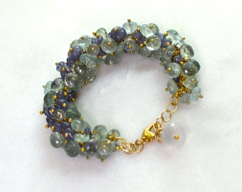 Tanzanite, Blue and Moss Aquamarine Pinned Cluster Charm Bracelet..