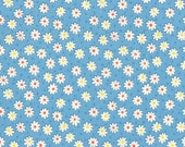 FAT QUARTER - Flowers and Dots on BLUE 31284-70 - Retro 30s Child Smile Collection Lecien - Daisy, Dot, Flower