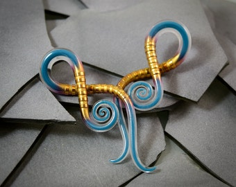 6G - 00G | Carved Gold Captured Teal | Squids | Gauged Glass Body Jewelry for Stretched Piercings by Glassheart
