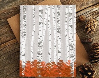 blank notecards / birch forest
