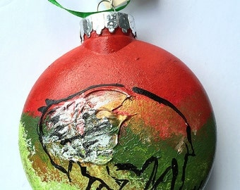Buffalo Ornament - Bison Ornament - Hand Painted Christmas Ornament - Buffalo NY - Buffalo Gift - Red and Green Ornament