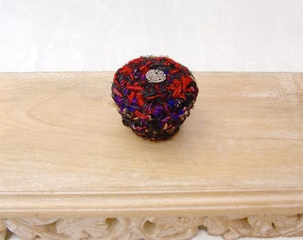 Unique Black and Red Color Basket - Small Lidded Basket Embellished with Antique Glass Button - Elegant Handmade Hostess Gift for Her STB023