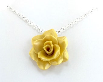 Original yellow rose necklace yellow rose pendant medium golden yellow rose pendant simple rose necklace yellow rose necklace bridesmaid mozeypictures Images