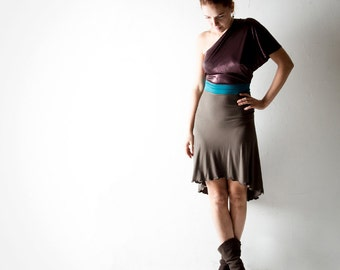 Off the shoulder dress, One shoulder dress, Purple dress, Party dress, Jersey dress, High-low dress, Brown dress, dress, Womens clothing