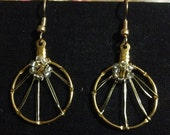GP drop weave and flower dangle hoop earrings