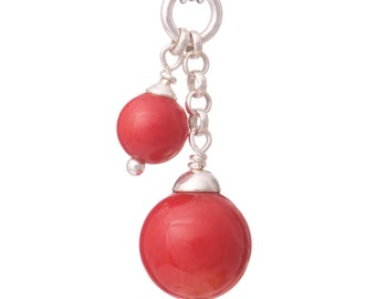 red coral double drop necklace