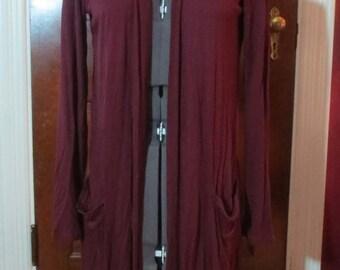 Ladies Long Burgundy Cardigan Top Open Jacket S/M