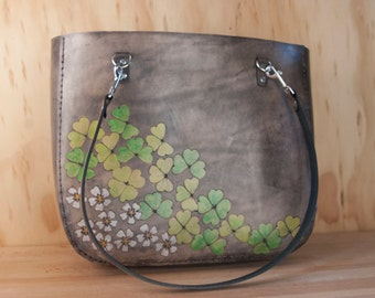 Leather Tote - Oversize Handbag in the Lucky Pattern with Shamrocks and Flowers - Green and Antique Black