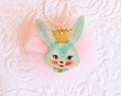 Blue Bunny Queen Necklace Sweet Glitter Sparkle Jewelry Child Adults Kitsch