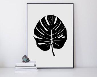 Monstera Print - Tropical Leaf - Leaf Wall Print - Botanical Print - Minimalist Art - Wall Prints - Tropical Decor - Scandinavian Art