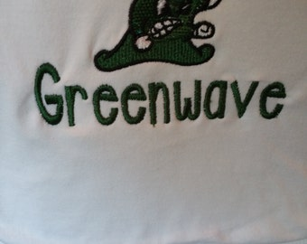 I Am A Lil Greenwave Forest Green and White Embroidery Thread Bib with Greenwave Logo Tulane or Ponchatoula Greenwave