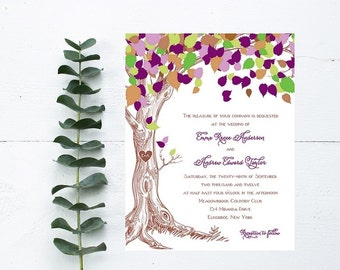 Rustic Tree Wedding Invitations - Purple Wedding Invitation - Rustic Wedding Invitation