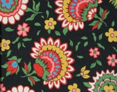 Fabric, cotton, flowers, floral, sewing, quilting, black, choice of yardage, Windham fabrics, Rhapsody, Rosemarie Lavin, quilting fabric
