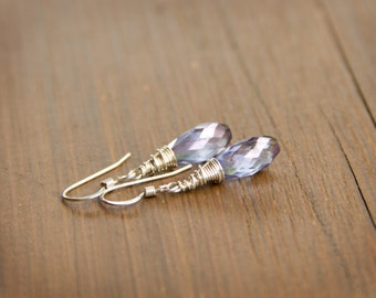 Tanzanite Colored Pale Purple Mystic Quartz Earrings Wire Wrapped in Sterling Silver