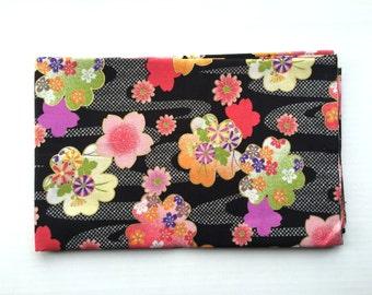 Japanese Fabric - Cotton Fabric -  1 Yard - Plum Blossoms - Cherry Blossoms  - Black Fabric - Cherry Blossoms - 110 cm x 100 cm (F138-P17)