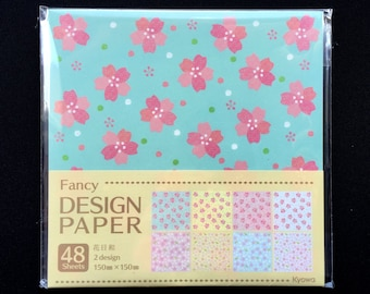 Japanese  Paper - Cherry Blossom Paper - Origami Paper - 2 Patterns  4 Colors 48 Sheets 15 x 15 cm